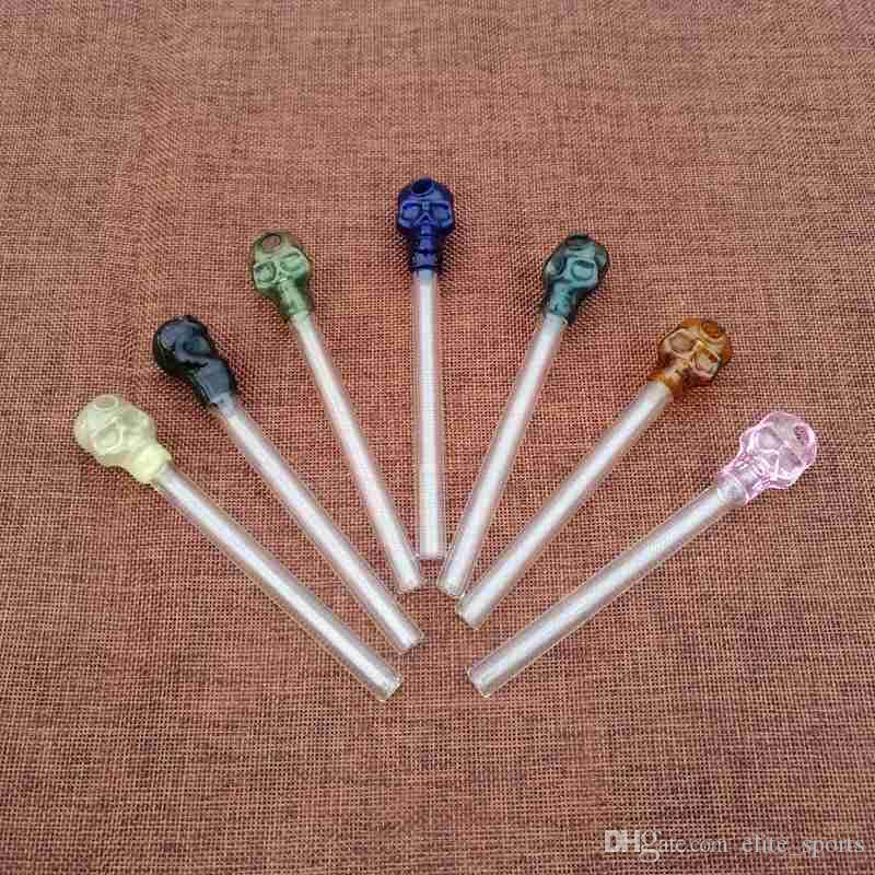 독특한 모양 미니 파이렉스 석유 버너 파이프 해골 다채로운 유리 파이프 핸드 파이프 SW13 흡연 스트레이트 튜브