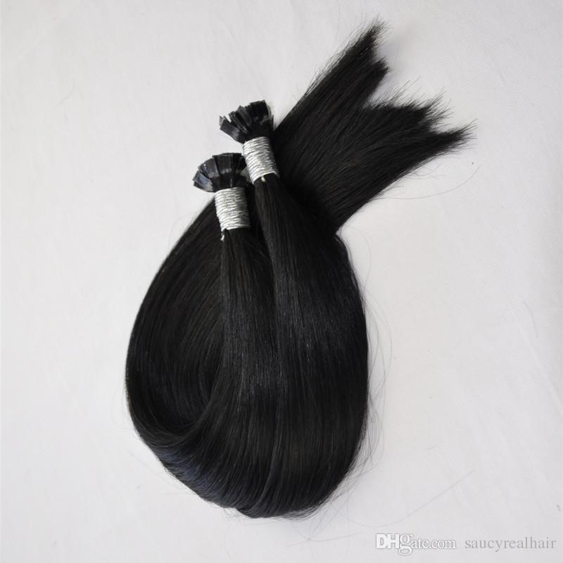 1g 200g Packung I / U / Flach Spitze in der Haar-Verlängerung Prebonded Fusion Glattes Haar 200strands packen Keratin-Stock-indisches Menschenhaar, freies DHL
