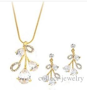 wonderful white diamond crystal flower wedding bride set necklace earings (spwhy) h