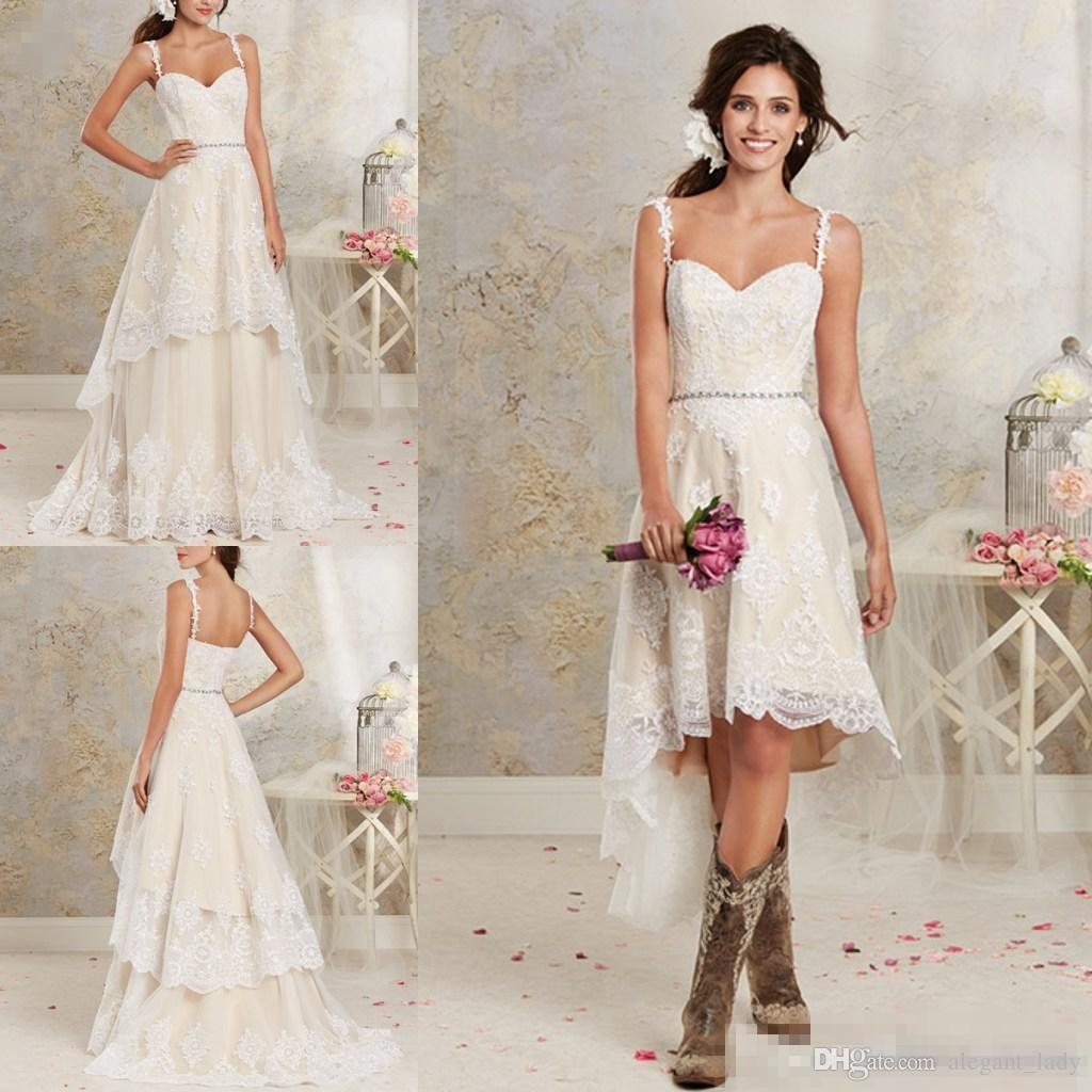 Deux pièces courtes robes de mariée en dentelle Spaghetti une ligne robes de mariée avec Salut-Lo courte jupe détachable pays robe de mariée bohème