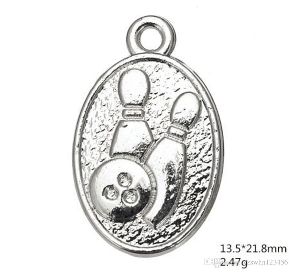 Alliage d'argent antique plaqué forme ovale boule de bowling Shapedv et pendentif sport pendentifs mémoire Charms