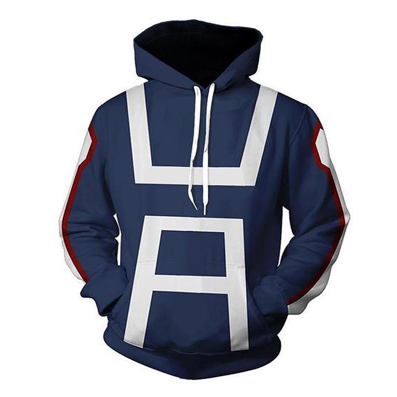 Anime My Hero Academia 3D Hoodie Sweatshirts Uniform Men Women Pullover Hoodies School College Style Tops Outerwear Coat Outfit