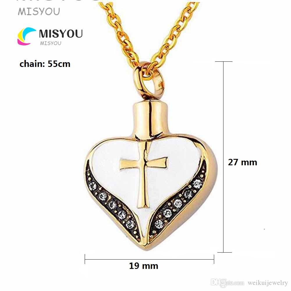 Wholesale custom cylinder cross heart urn necklace can open perfume bottle funeral cremation pendant fashion jewelry.