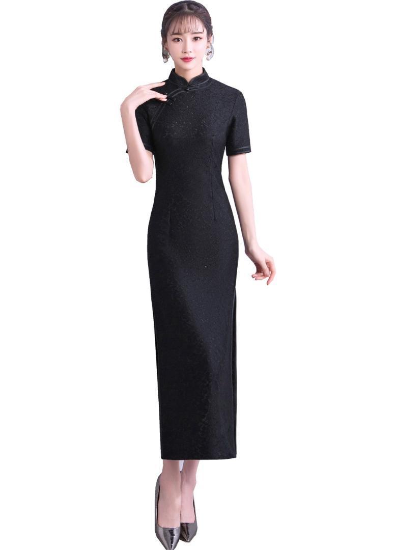 상하이 스토리 동양의 드레스 중국어 번체 드레스 긴 Cheongsam 민소매 레이스 Qipao 여자 중국어 드레스 3 색