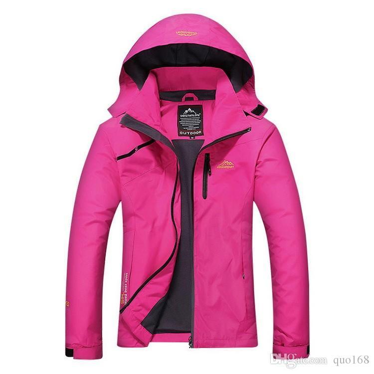 Women outdoor waterproof Windproof coat Fleece Liner Removable One piece Three wear Jackets Keep warm Comfortable Pure color Hooded coats