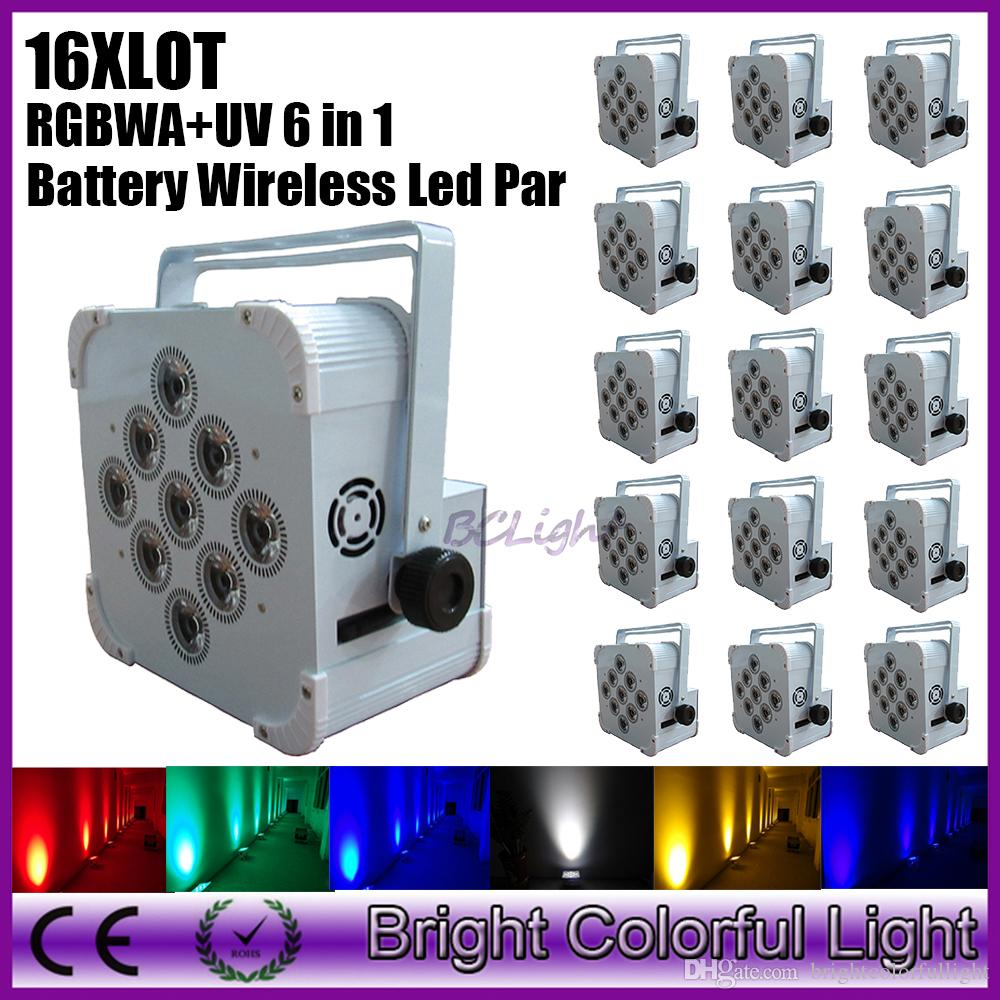 16XLOT Uplighting DJ Party Par can Rechargeable DMX Wireless Battery Powered 6in1 RGBWAUV 9*18w LED Par Light Dhl free shipping