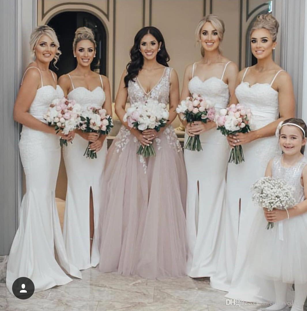 Грейс красивые длинные платья подружки невесты сексуальные спагетти без рукавов русалка русалка поезда передняя поваленная горничная почетная