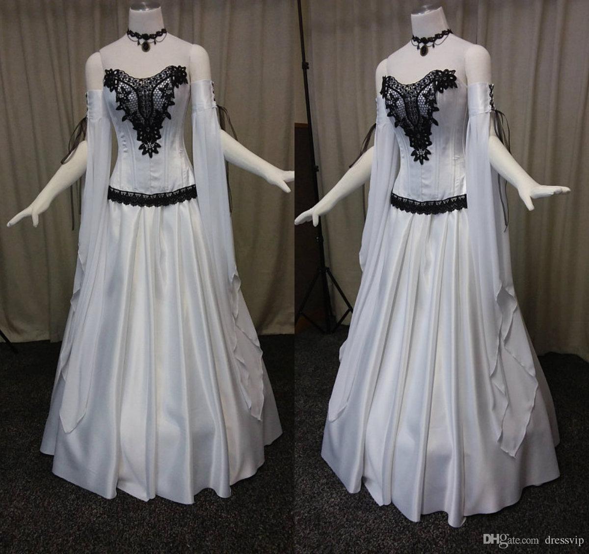 2018 Robes De Mariée Gothique Blanc Sweetheart Dentelle Appliques Vampire Ball Masquerade Costume Halloween Long Sleeev Robe De Mariée Robes De Mariée