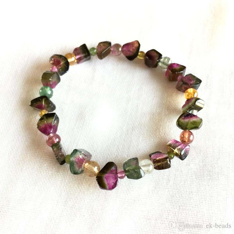 High Quality Brazil Natural Genuine Green Pink Red Yellow Watermelon Tourmaline Multi-color Bracelet Nugget Round beads 5x7mm 05166