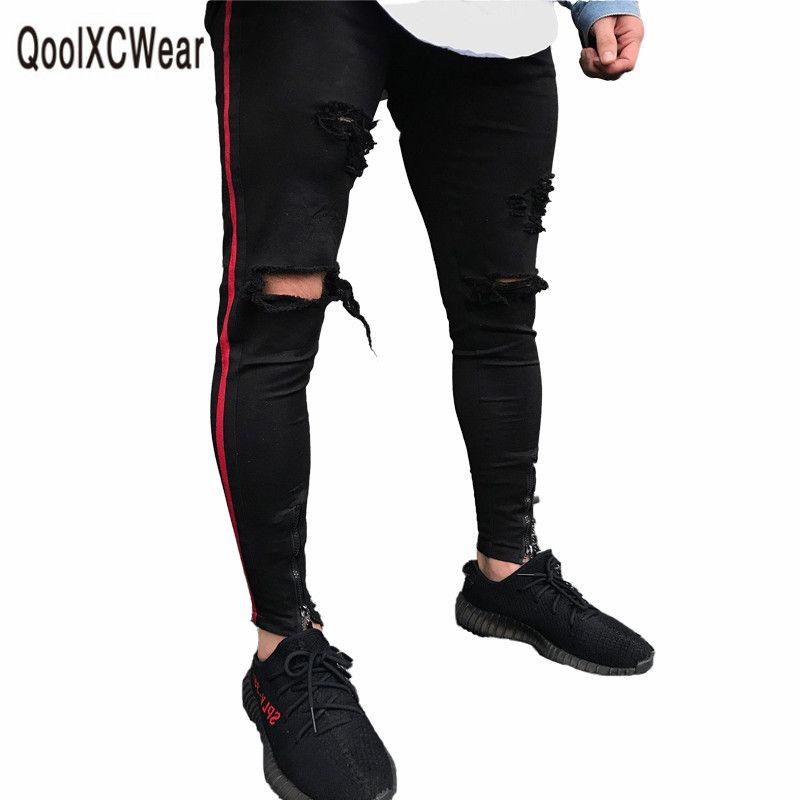 QoolXCWear venda quente homens de jeans calças jeans preta homens jeans casual masculina motocicleta jean magro alta qualidade