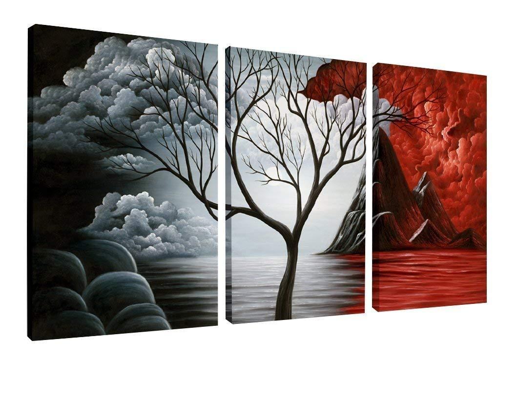 Modern Galeri Sarılmış Giclee Tuval Baskı Yapıt Soyut Manzara 3 paneller Resimler Tuval Duvar Sanatı Mutfak Ev Dekor
