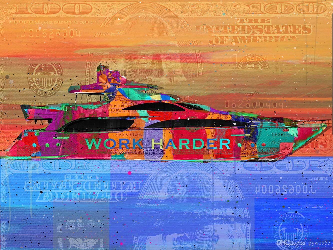 """Unframed / Alec Monopólio """"Yacht Dreams"""", Impressão HD Canvas home decor arte da parede pintura, escritório arte cultura"""