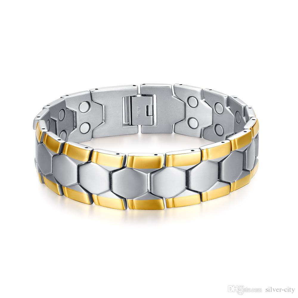 Drop shipping brand new top quality men's stainless steel bracelet magnets germanium bracelets hematite fashion jewelry factory supplier 088