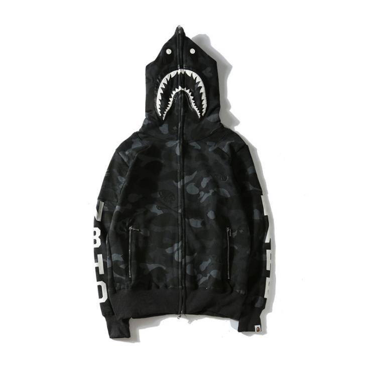 Neue Ankunft Shark Gedruckt Schwarz Camo Hoodies Männer Frauen Strickjacke Hip Hop Fleece Hoodies Sport Streetwear Sweatshirts Größen M-XXL