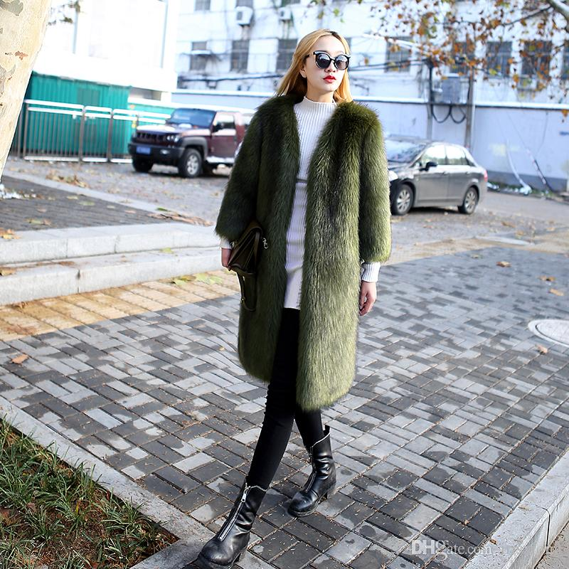 Новая Мода Искусственного Лиса FurCoat женская Длинная И Хлопковая Шерсть Пальто Большой Размер Куртка Девять Очков Рукава Pecial Оптовая XS-2XL
