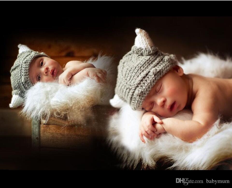 Crochê Bebê Menino menina Boi Chifre Cap Traje De Malha Bebê Recém-nascido Dos Desenhos Animados Outfits Bebê Crochet Adereços Foto Chapéu Beanie Chapéu Infantil