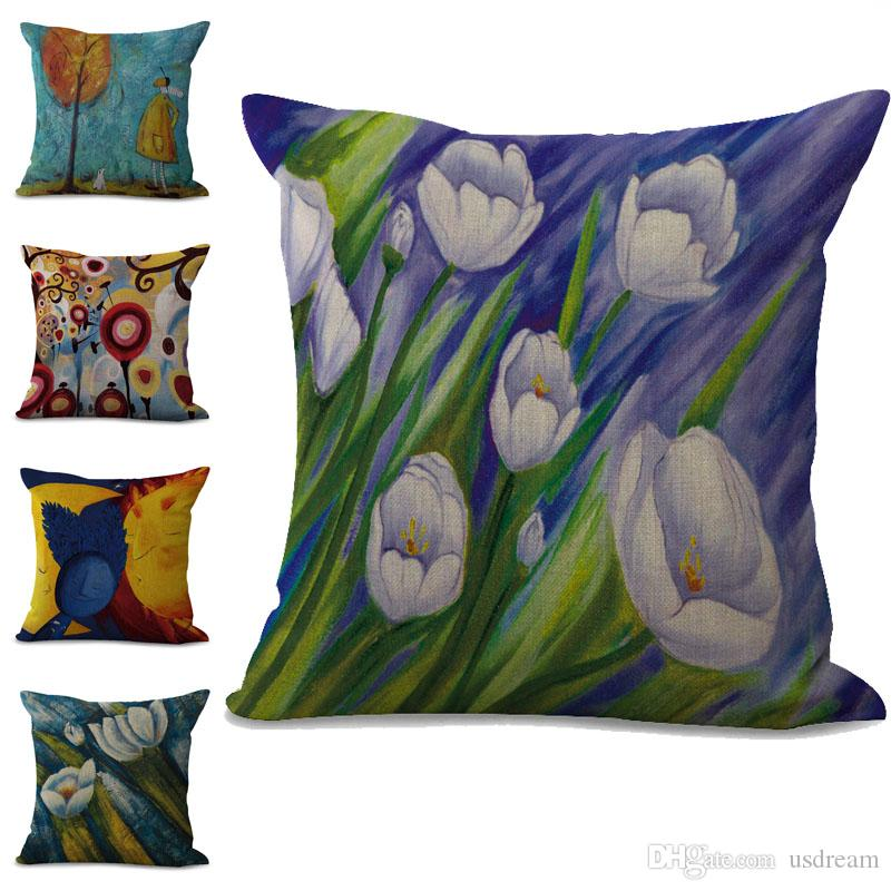 Colorful Paint Flower Pillow Case Cushion cover linen cotton Throw Square Pillowcase Cover Drop Ship 300785