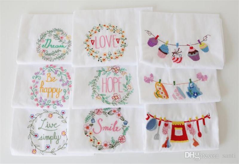 Embroidered Tea Towels Cotton Napkins Table Napkins Home Kitchen Wedding Cloth Napkins Wine Cup towel 45*70cm
