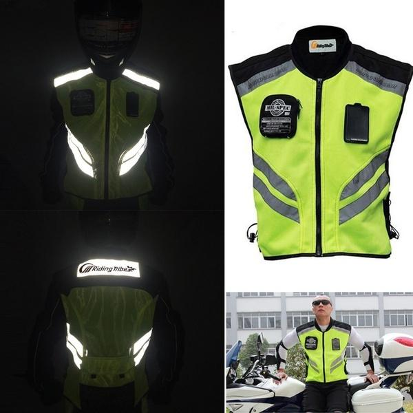 Mens Motorcycle Racing Sleeveless Jacket Safety Reflective safety Vest m, yellow