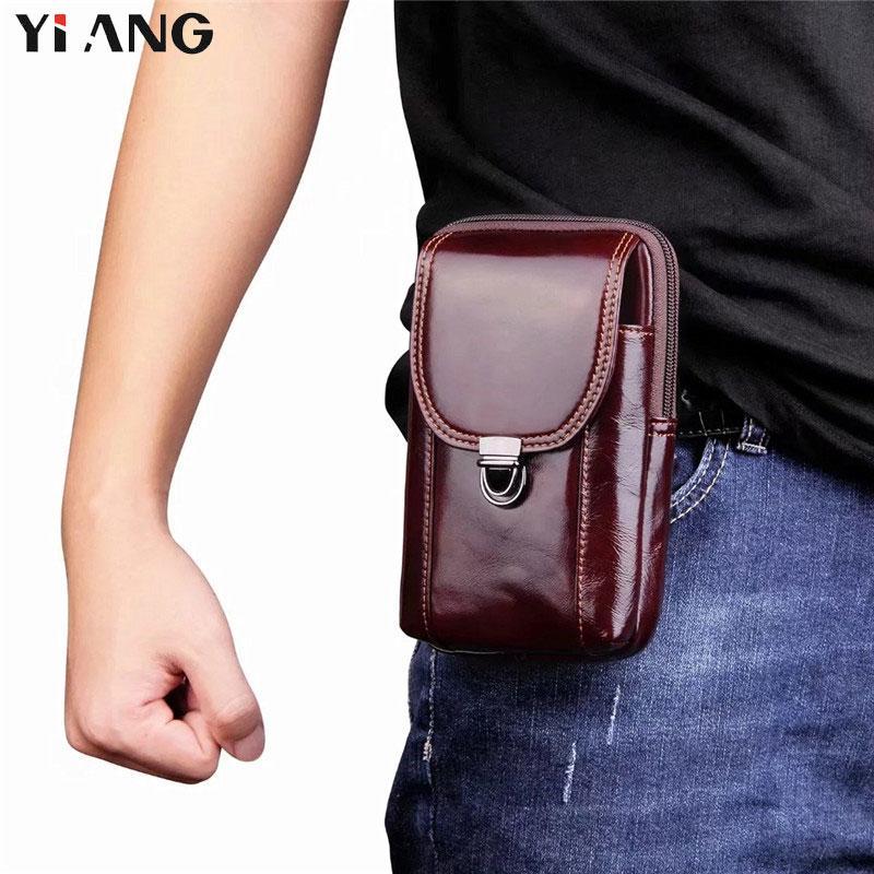 Men Leather Multifunction Small Waist Belt Pack Pouch Messenger Shoulder Bag