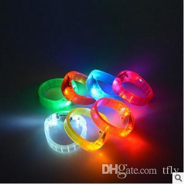 2 LED Rosa suono attivato Braccialetti Light Up lampeggiante controllo Vocale Musica Band