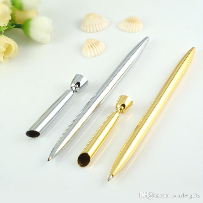 China Cheap Wholesale Golden/Silver metal desktop pen stand promotion pen holder desk table pen with holder