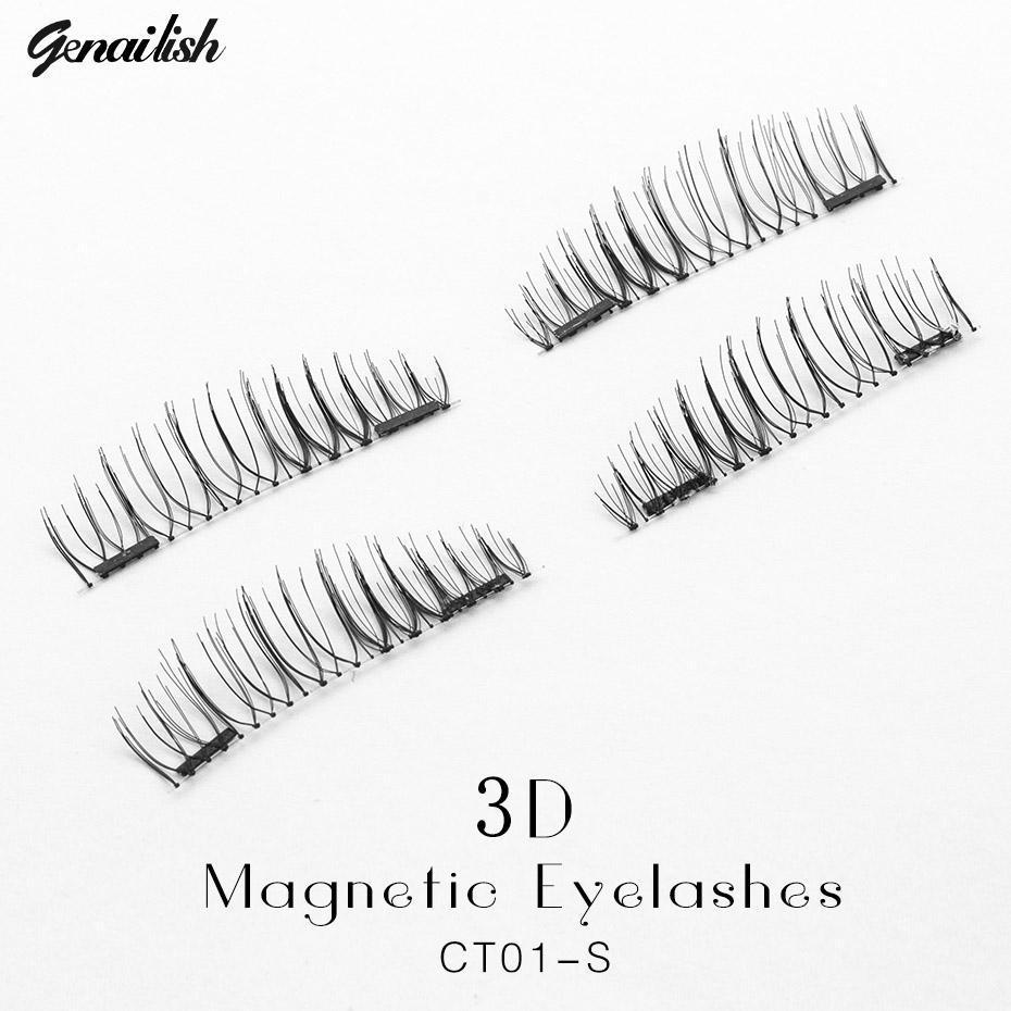 Genailish Falso Cílios 6D Cílios Magnéticos Dupla Ímã Cílios Falsos Extensão Maquiagem Cílios maquillage CT01-S