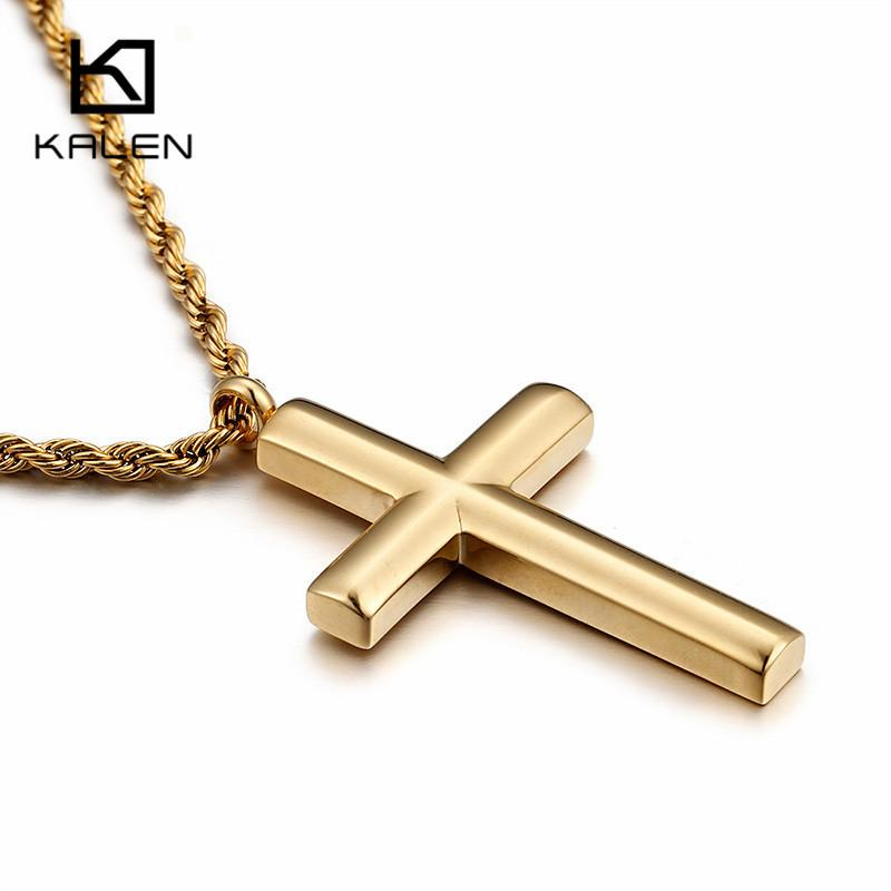 Kalen New Fashion Cross Necklace For Men High Polished 50cm Stainless Steel Gold Color Cross Pendant Necklace Male Cheap Jewelry