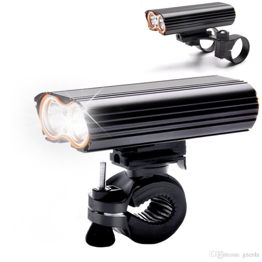 USB القابلة لإعادة الشحن الدراجة الخفيفة 2000LM MTB السلامة مضيا الصمام دراجة المقود الجبهة أضواء +2 جبل دورة حامل الملحقات