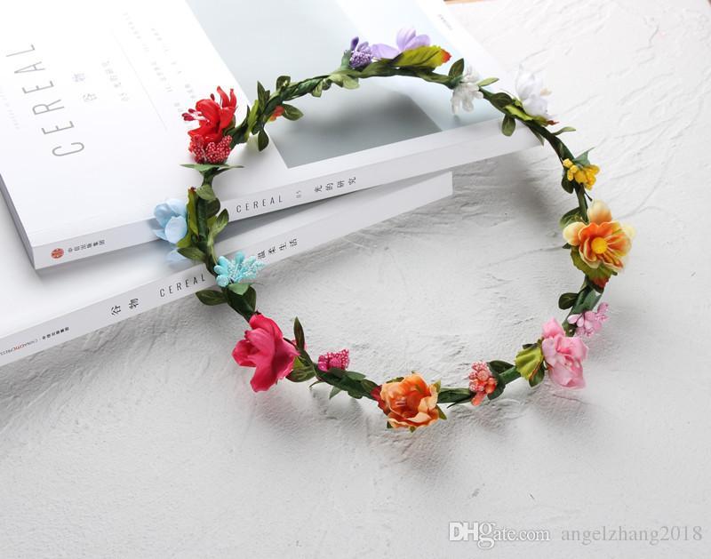 Grinalda artesanal de noiva flor coroa moda grinalda de moda Bohemia Seaside Headwear foto Prop Boho flor coroa