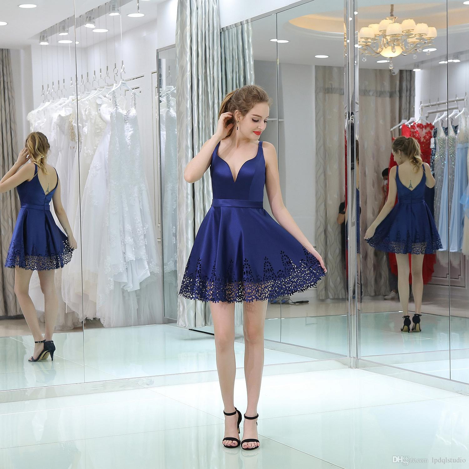 Sexy Royal Blue Party Dresses Spaghetti Zipper Back Short Summer Cocktail Dress High Quality Satin Party gowns Cheap Free Shipping