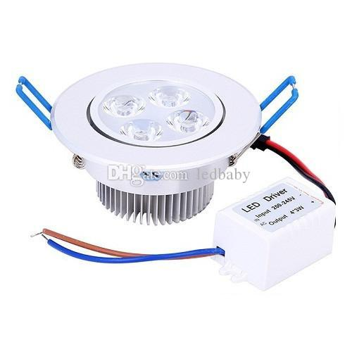 12W Dimmable Led Ceiling Down Light 4X3W CREE Led Downlights Warm/Natrual/Cold White CRI>85 AC 110-240V Free Shipping