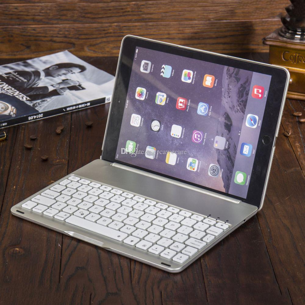 Pad Air 2 Smart Cover Wireless Bluetooth 4.0 Keyboard Aluminum ABS 7 Colors Backlit C090 with 500mAh Battery 3 Colors