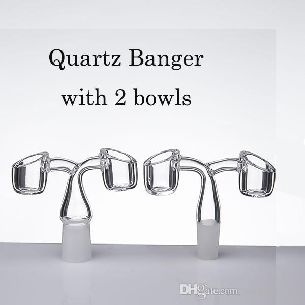 Quartz banger with 2 bowls Universal shape Real Quartz with 10/14/19mm male female Frosted joint