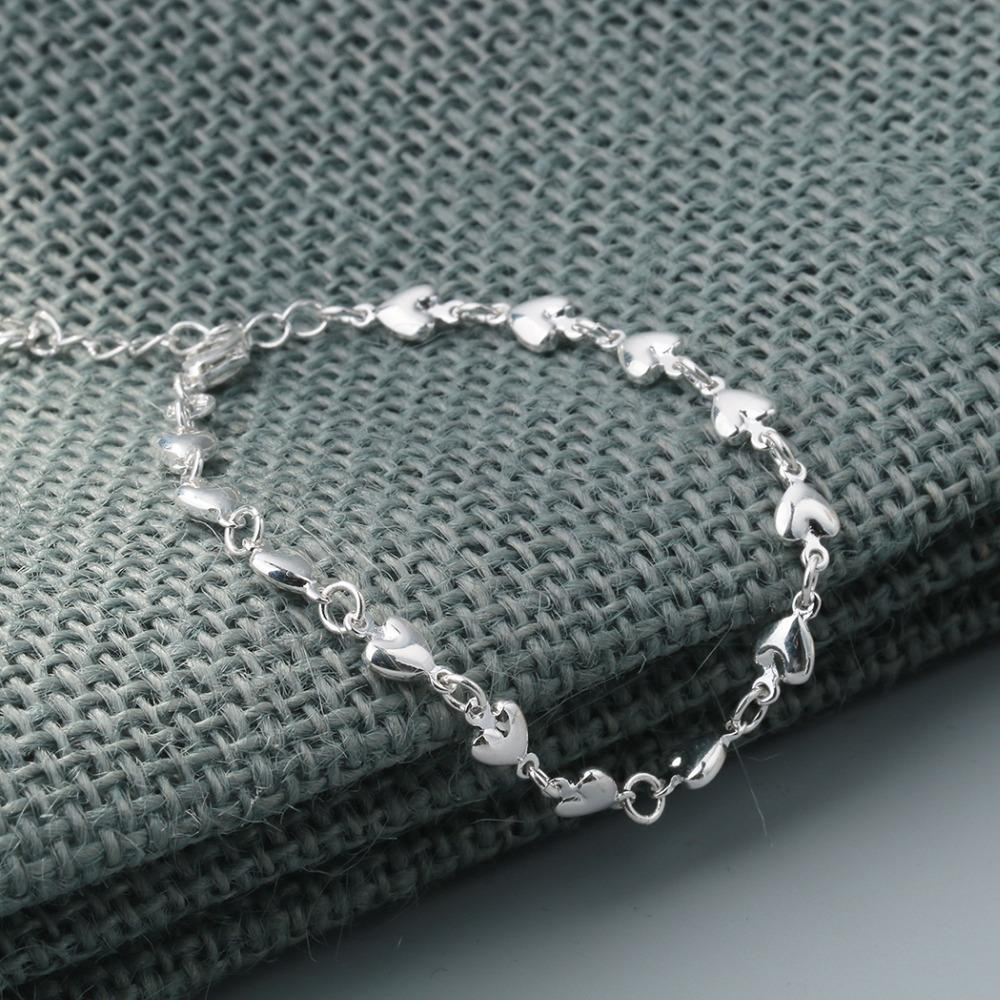 Todorova new real 925 prata esterlina charme pulseiras para as mulheres moda coração pulseira de festa de casamento jóias meninas presente