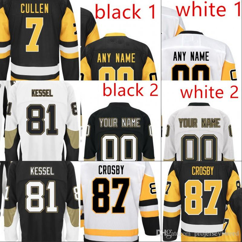 Youth 2016 2017 Stanley Cup Champions Jersey 58 Kris Letang 72 Patric Hornqvist 81 Phil Kessel 87 Sidney Crosby Maglie da hockey