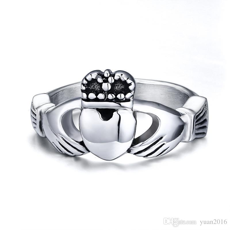 Tamanho do casamento anel irlandês de Claddagh Anel de aço inoxidável Anel 5-10 Hot venda na Irlanda Engagement Promise Banda
