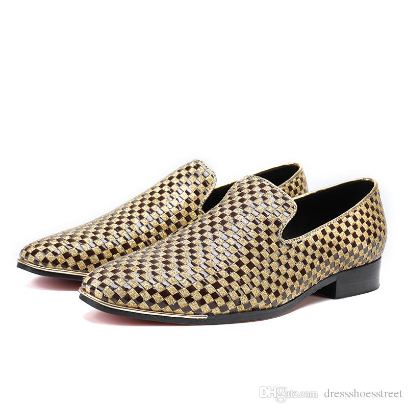 Fashion handmade Woven formal mens dress shoes genuine leather luxury gold color wedding shoes men flats office for male