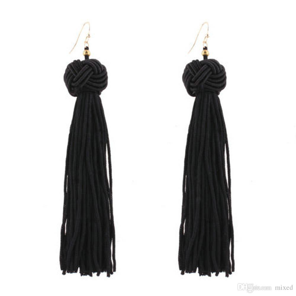 Модные Чешские Серьги Женщины Винтаж Длинные Кисточкой Бахрома Boho Мотаться Серьги Ювелирные Изделия