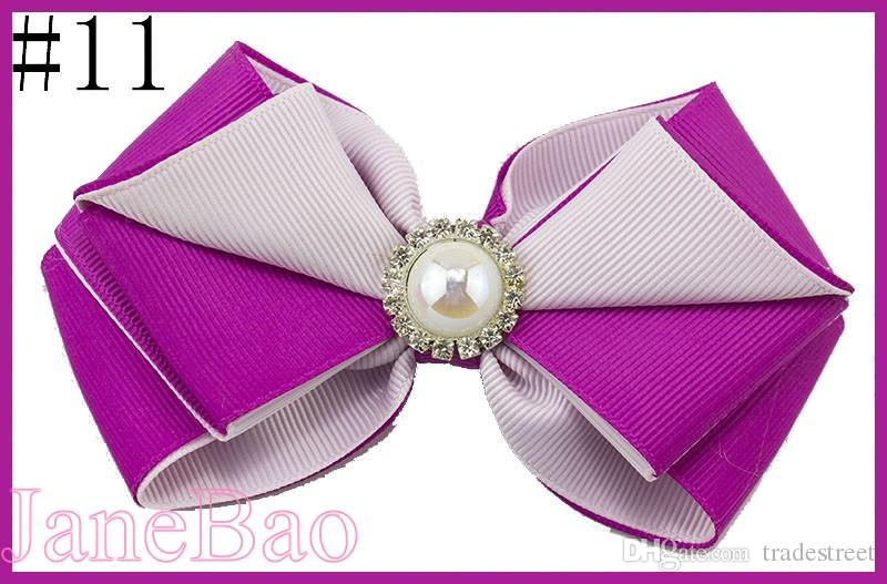 free shipping 120pcs 4.5'' layered two color boutique hair bows twist hair bows with pearl girl clip baby hair accessories