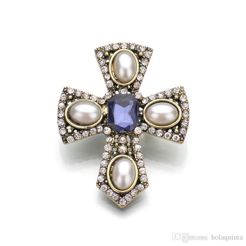 Sıcak Satış Yeni Vintage İmitasyon İnci Çapraz Broş Pins Kristal Bayan Broş Yeni Takı