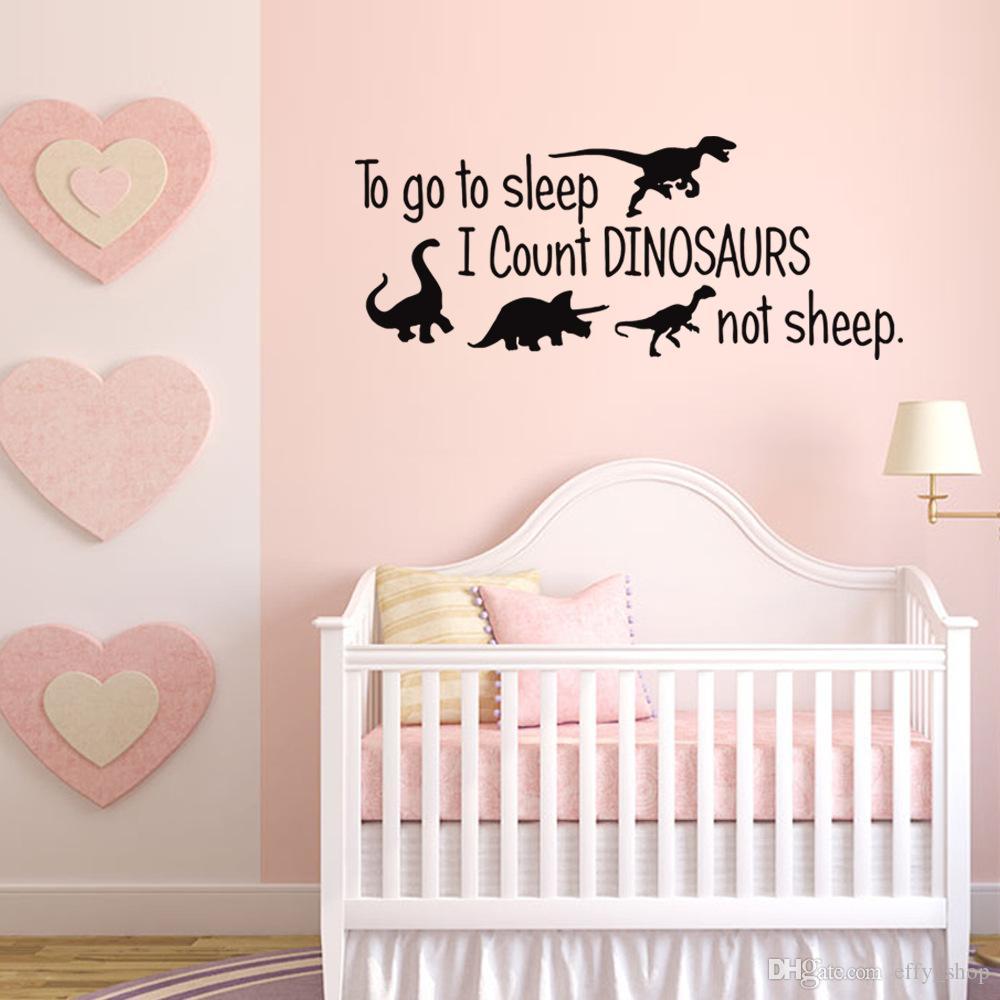 Stickers Muraux Chambre Bébé acheter pour aller dormir, je compte les dinosaures non moutons sticker  mural pour chambre denfant chambre bébé affiche papier peint maison  pépinière