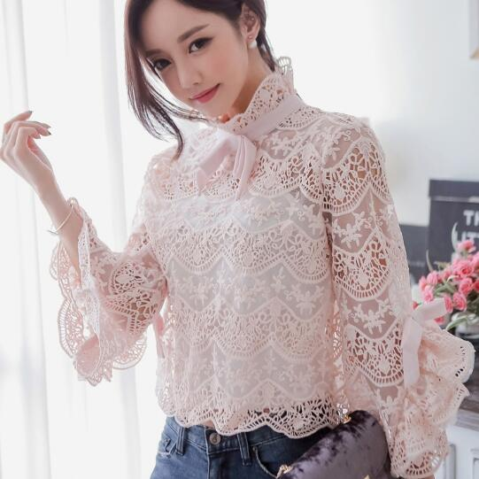 manga de elegante 2018 Pink larga Verano Vintage Fashions flare mujer blusa arco Blusas manga de P55wqSF