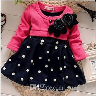 Yeni Moda İlkbahar Sonbahar Bebek kız elbise Çocuk Çocuk Giyim Yapıştırma Polka Dots Elbise Kız Parti Elbise