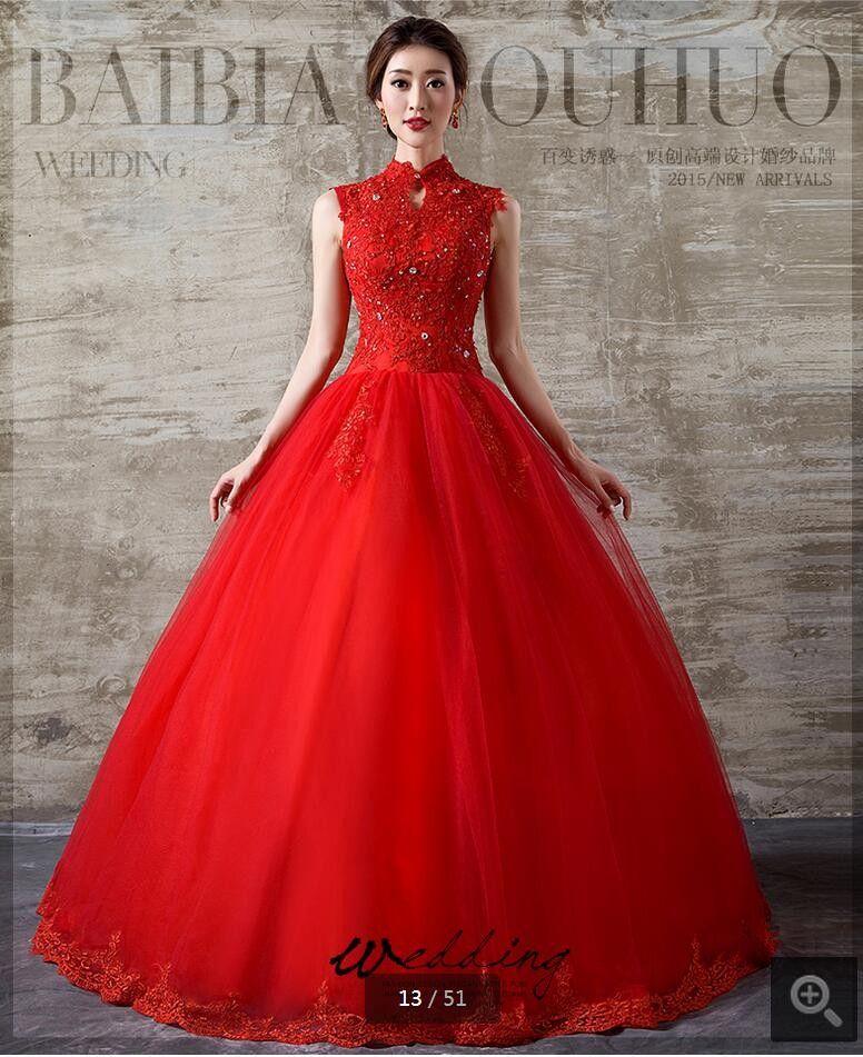 Col haut rouge robes de mariée 2020 Sexy manches Applique dentelle boule mariage Robes Corset mariée Robes étage Longueur