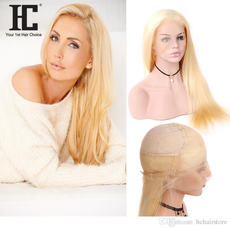 HC Saç Sarışın 613 Renk Brezilyalı Remy İnsan Saç Tam Dantel Peruk Düz Saç Dantel Peruk Doğal Başlık Ile