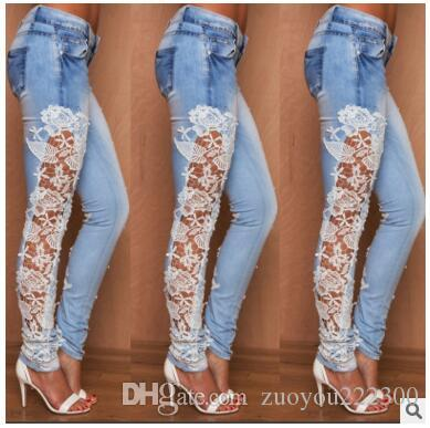 2018 new style quality explosive trade women's trousers lace side side stretch elastic jeans female factory direct sales