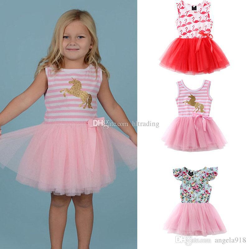 Niñas bebés unicornio flamencos estampado floral vestido de encaje de tul vestidos de princesa 2018 verano Boutique niños Ropa C4073