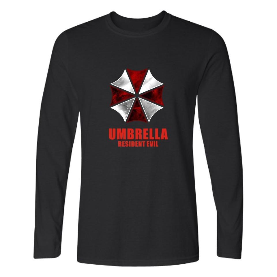 Resident Evil Umbrella Pur Coton Eté Et Automne Manches Longues T Shirts Mode Pour Hommes