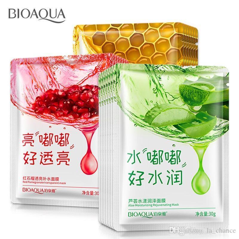 무료 Epacket Bioqua 12 종류 스퀴즈 마스크 시트 보습 얼굴 스킨 트리트먼트 오일 컨트롤 페이셜 마스크 껍질 피부 관리 필라테